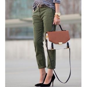military style J CREW olive twill pants 27